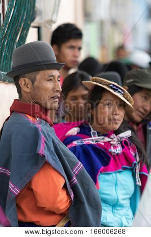 September 6 2016 Silvia Colombia: indigenous Guambiano man and woman in traditional wear outdoors on market day