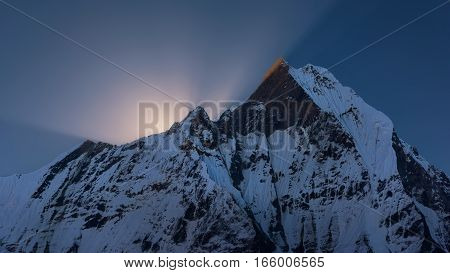 Machapuchare peak at sunrise from Annapurna Base Camp ,Nepal.