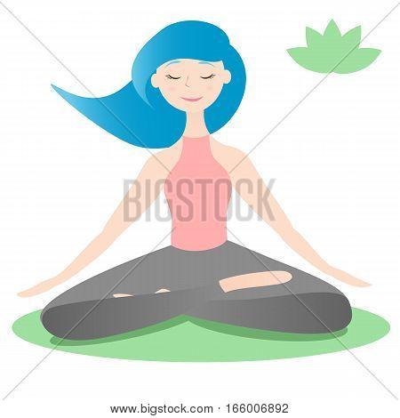 Girl sitting in lotus yoga pose. Padmasana asana
