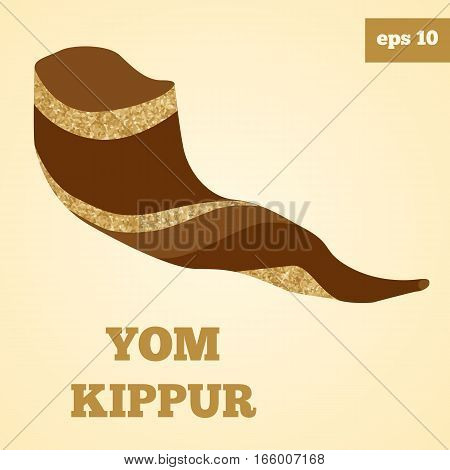 Shofar brown vector image with golden glitter.