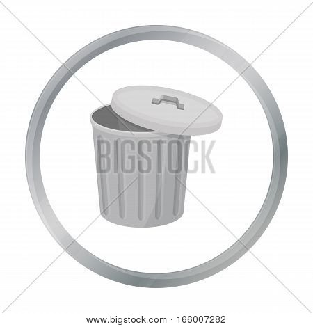 Trash can icon in cartoon style isolated on white background. Trash and garbage symbol vector illustration. - stock vector