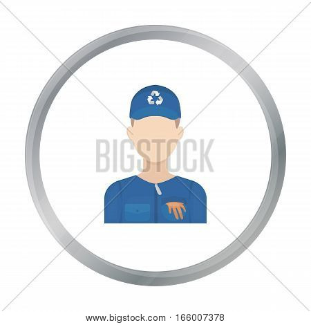 Waste collector icon in cartoon style isolated on white background. Trash and garbage symbol vector illustration. - stock vector