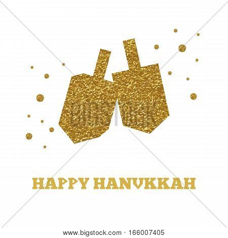 Golden color hanukkah dreidels on white background.