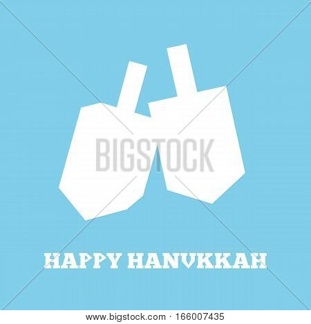 White icon of hanukkah dreidels on blue.