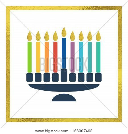Colorful image of traditional menorah with golden flames.