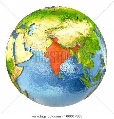 India In Red On Full Earth