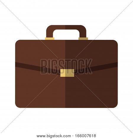 brown briefcase icon over white background. colroful design. vector illustration