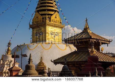 Eyes of Buddha. Wisdom eyes of Buddha in Swayambhunath Stupa after the earthquake ,Kathmandu, Nepal.