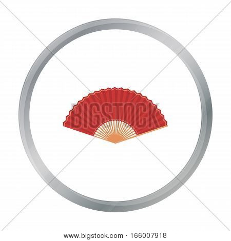 Folding fan icon in cartoon style isolated on white background. Theater symbol vector illustration - stock vector