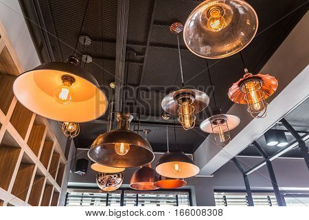 Interior of decorative antique edison style filament old lighting decor bulb. Select focus