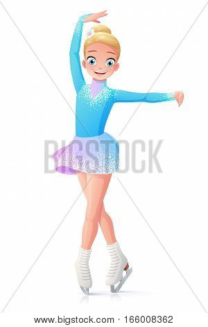 Cute smiling young little girl figure skating on ice. Cartoon vector illustration isolated on white background.