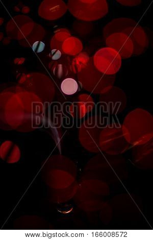 Red Bokeh Light Celebrate At Night, Defocus Light Abstract Background.