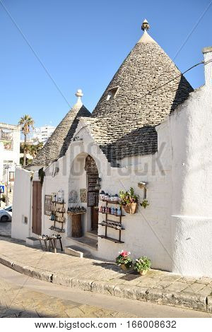 ALBEROBELLO, APULIA, ITALY - JANUARY 02 - Beautiful view of the traditional trulli houses with their conical roof