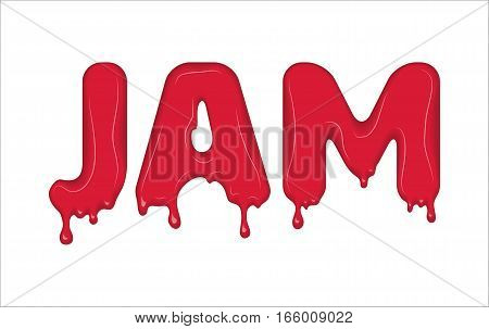 Vector word made of flowing jam. Letters with blots, drops, splashes and blobs. Glossy typeface. Text of red liquid drops isolated on white background.