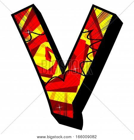 Letter V filled with comic book explosion background.