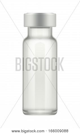 Empty transparent glass vial for medical drug. Realistic 3d mock-up of ampoule with medicament injection. Blank template of phial with cap. Vector illustration isolated on background