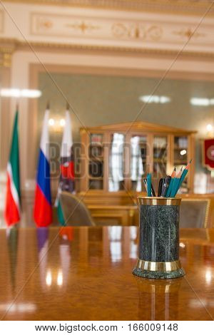 KAZAN, RUSSIA - 16 JANUARY 2017, City Hall - luxury and beautiful touristic place - the mayor's office - writing accessories, vertical, wide angle