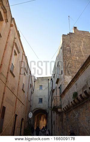 MATERA, BASILICATA, ITALY - JANUARY 04, 2017 - Historical buildings inside the ancient town of Matera (Sassi di Matera), European Capital of Culture 2019