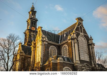 AMSTERDAM NETHERLANDS - JANUARY 10 2017: General landscape views in traditional Dutch church on 10 January 2017 in Amsterdam Netherlands.