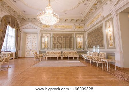 KAZAN, RUSSIA - 16 JANUARY 2017, City Hall - luxury and beautiful touristic place - interior, wide angle