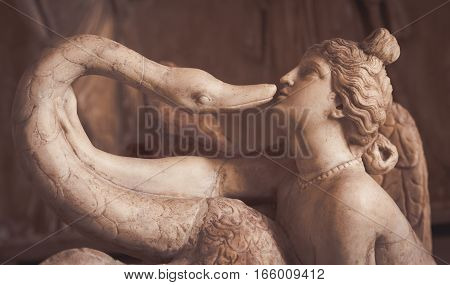 Venice, Italy - June 27, 2016: Leda And The Swan Statue In Palazzo Ducale Museum