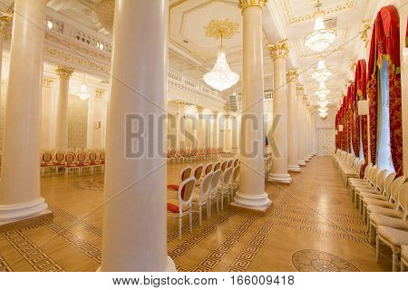 KAZAN, RUSSIA - 16 JANUARY 2017, City Hall - luxury and beautiful touristic place - view of golden ballroom, wide angle