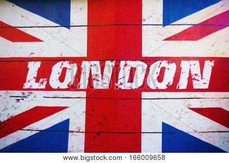 London Text On Old Designed Grunge British Flag