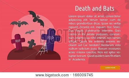 Death and Bats Conceptual Banner Great flat design illustration concepts for halloween, holiday, horror, night and much more.