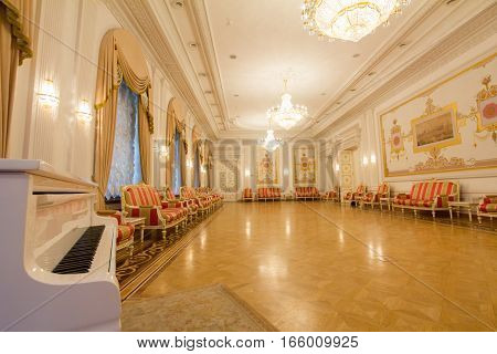 KAZAN, RUSSIA - 16 JANUARY 2017, City Hall - luxury and beautiful touristic place - the piano in the antique interior, wide angle