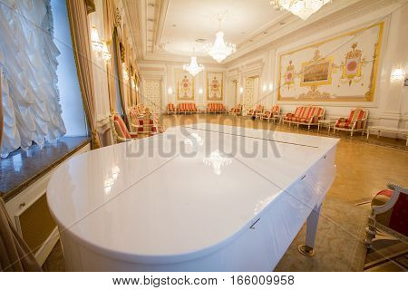 KAZAN, RUSSIA - 16 JANUARY 2017, City Hall - luxury and beautiful touristic place - the piano in the interior, wide angle