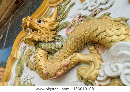 Chinese dragon sculpture decoration in Chinese monument on Doi Mae Salong of Chiangrai province, Thailand.