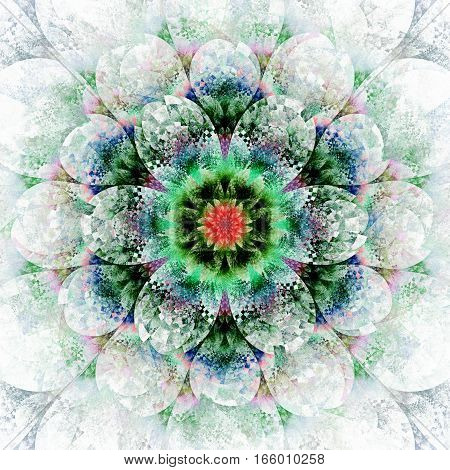 Fantasy Flower. Abstract Fractal Mandala On White Background. Digital Artwork In Red, Blue, Green An
