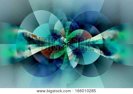 Abstract Floral Ornament. Fantastic Fractal Design In Blue, Green, Brown And Black Colors. Digital A