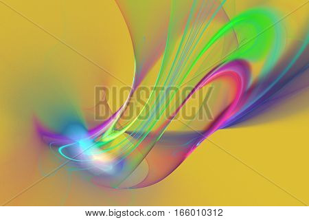 Abstract Pink, Purple, Green And Blue Smoky Shapes On Yellow Background. Fantasy Fractal Texture. 3D