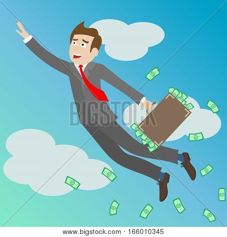 Businessman with a suitcase full of money in the sky flying up concept achievements in business. A man in a business suit flies up success in business