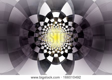Abstract Glass Tunnel With Tiled Walls. Fantasy Fractal Background. Digital Art. 3D Rendering.