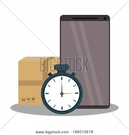 chronometer, carton box and smartphone device over white background. fast delivery concept. colorful design. vector illustration