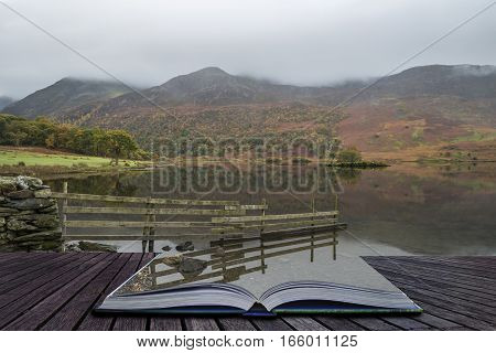 Beautiful Autumn Fall Landscape Image Of Crummock Water At Sunrise In Lake District England Coming O
