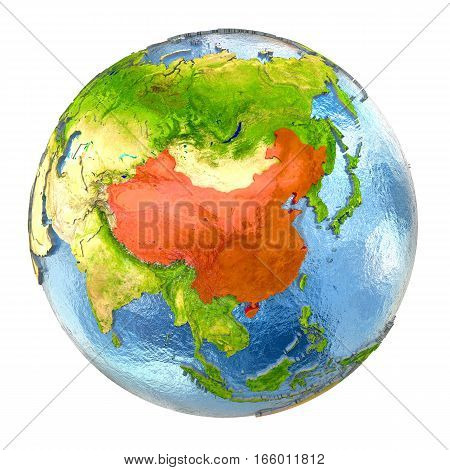 China In Red On Full Earth