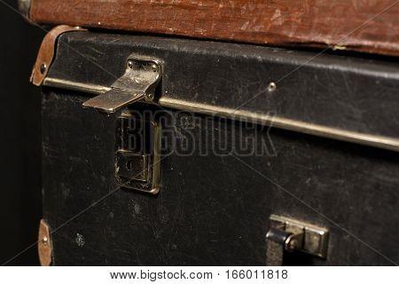 Close-up Of A Suitcase. Iron Castle Vintage Bag