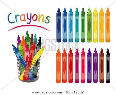 Crayons in 18 rainbow colors, including pastels for back to school, art and craft projects, home, office, scrapbooks in desk organizer.