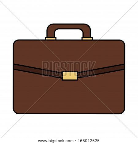 brown briefcase icon over white background. colorful design. vector illustration