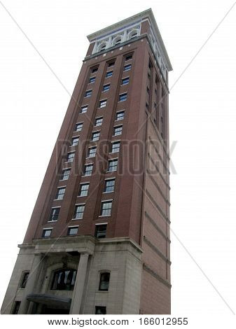 clipping path isolated red brick RoeBuck  and Company tower Chicago on a white background