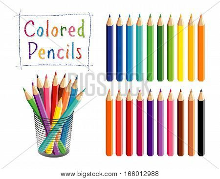 Pencils Set, colored pencils in 20 shades for school, home, office, art and craft projects, scrapbooks in desk organizer.