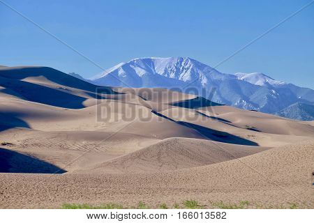 Sand dunes and snowy mountains. Great Sand Dunes National Park and Preserve. Denver. San Luis Valley. Alamosa Saguache County Colorado. United States.
