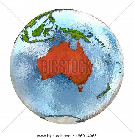 Australia In Red On Full Earth
