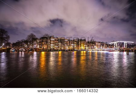 General view of beautiful night Amsterdam city canals.