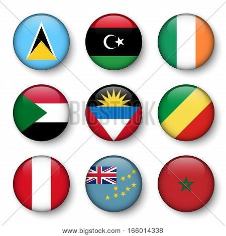 Set of world flags round badges ( Saint Lucia . Libya . ireland . Sudan . Antigua and Barbuda . Republic of the Congo . Peru . Tuvalu . Morocco )