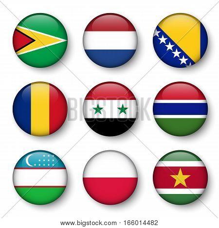 Set of world flags round badges ( Guyana . Netherlands . Bosnia and Herzegovina . Romania . Syria . Gambia . Uzbekistan . Poland . Suriname )