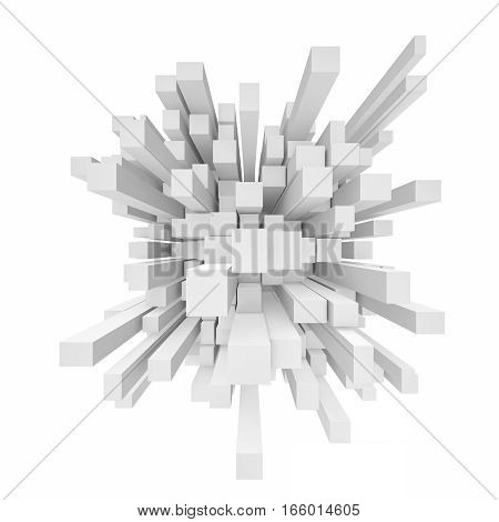 3d rendering of abstract cube mosaic in perspective on white background. Computer graphics. Abstract illustration. 3d modelling